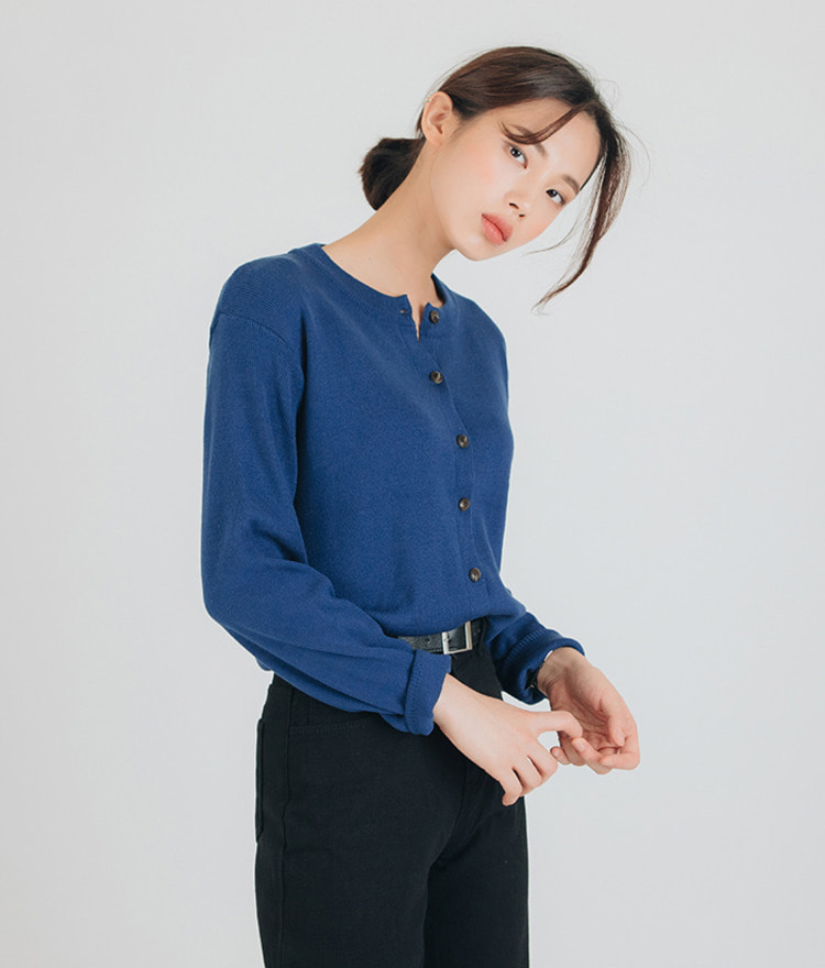 ESSAYRound Neck Button-Up Cardigan
