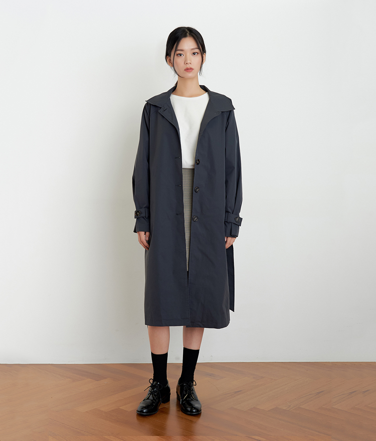 ESSAYSingle Breasted Tie-Waist Trench Coat