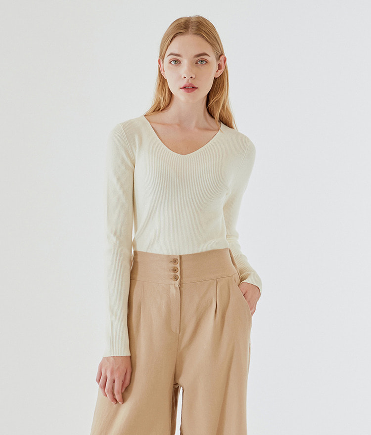 ESSAYV-Neck Ribbed Knit Top