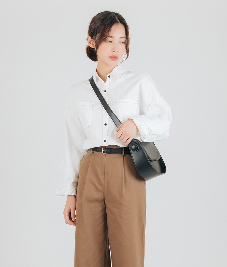 ESSAYContrast Stitch Loose Fit Shirt