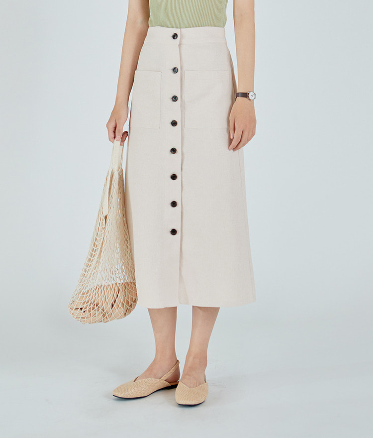 ESSAYSemi Elastic Waistband Button-Up Midi Skirt