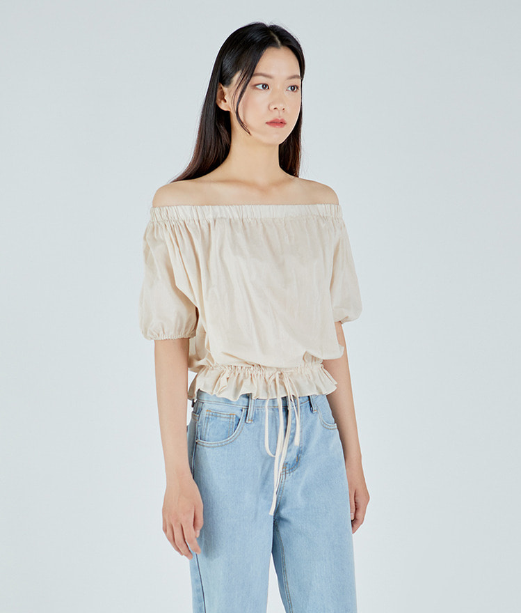 ESSAYOff-Shoulder Drawstring Hem Blouse