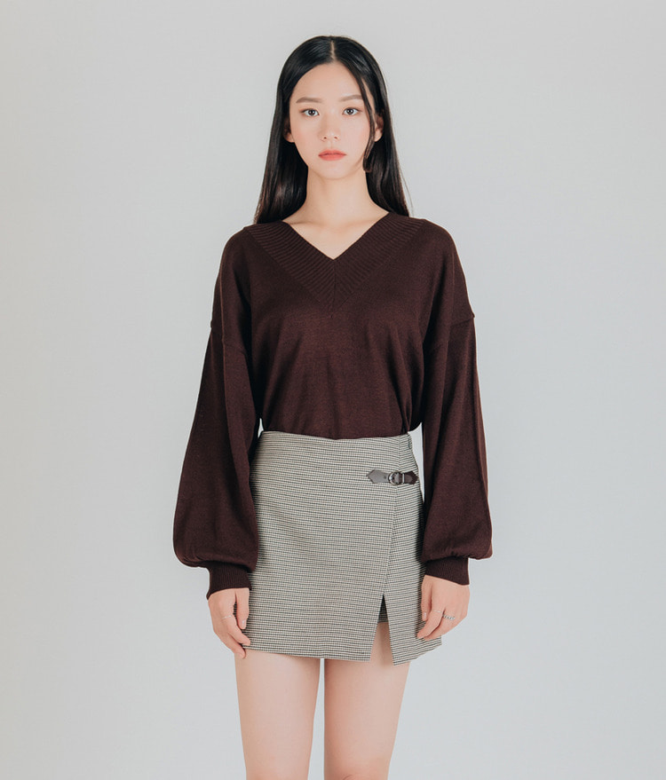 ESSAYCuffed Balloon Sleeve Knit Top