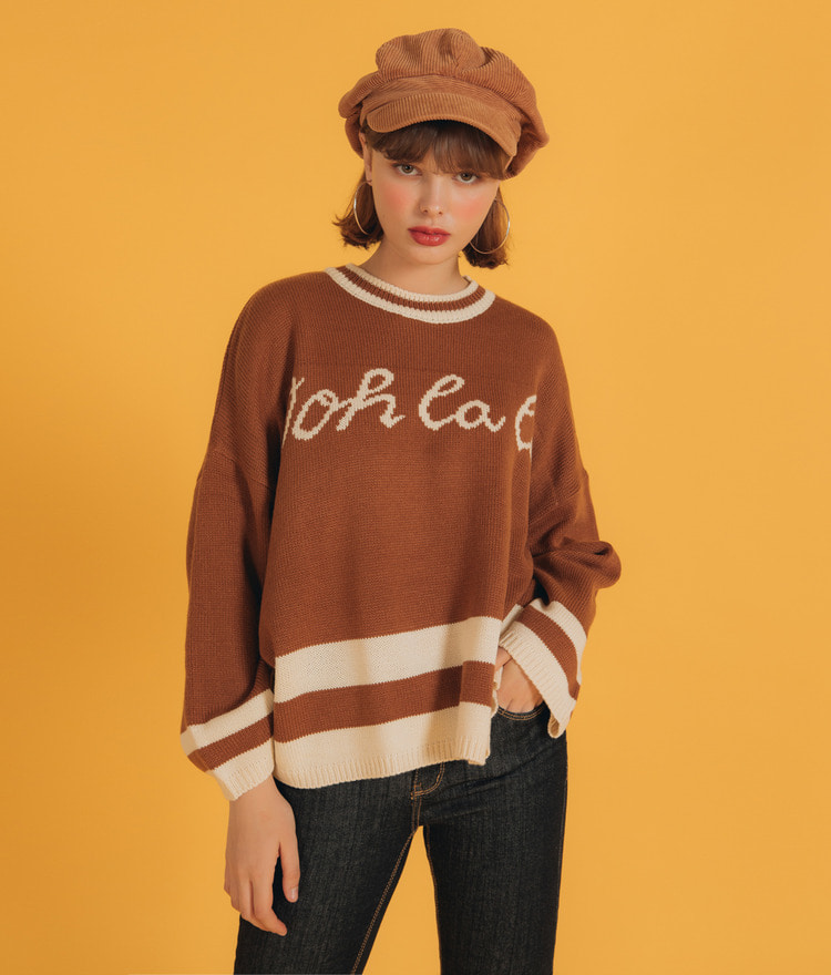 NEVERM!NDContrast Line Lettering Print Knit Top