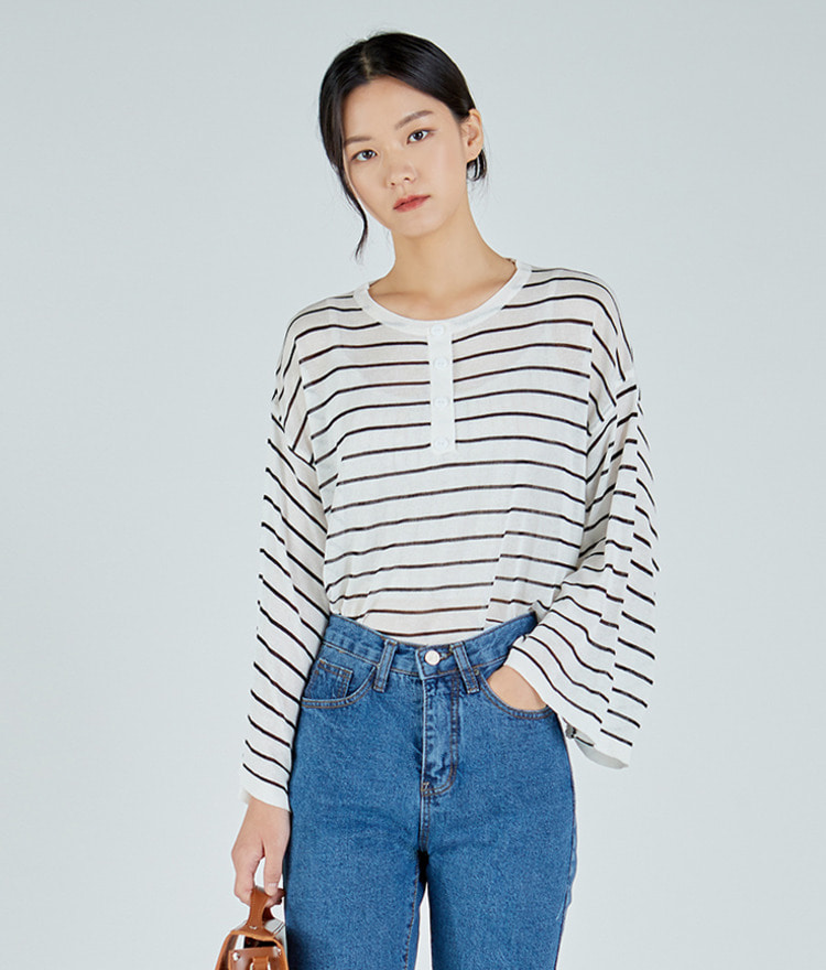 ESSAYHenley Neck Stripe Top