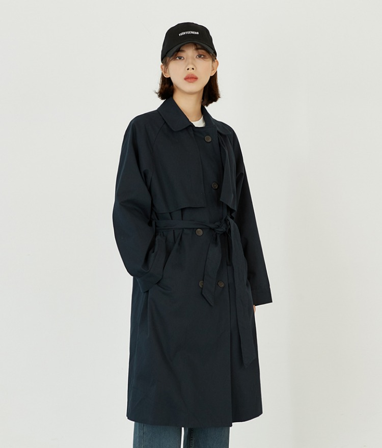 ESSAYDouble-Breasted Tie-Waist Trench Coat