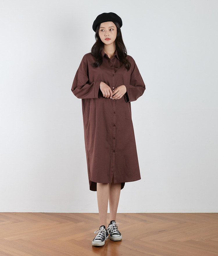 ESSAY Side Slit Midi Shirt Dress