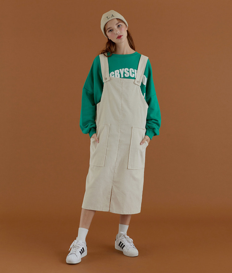 NEVERM!ND Front Slit Corduroy Pinafore Dress