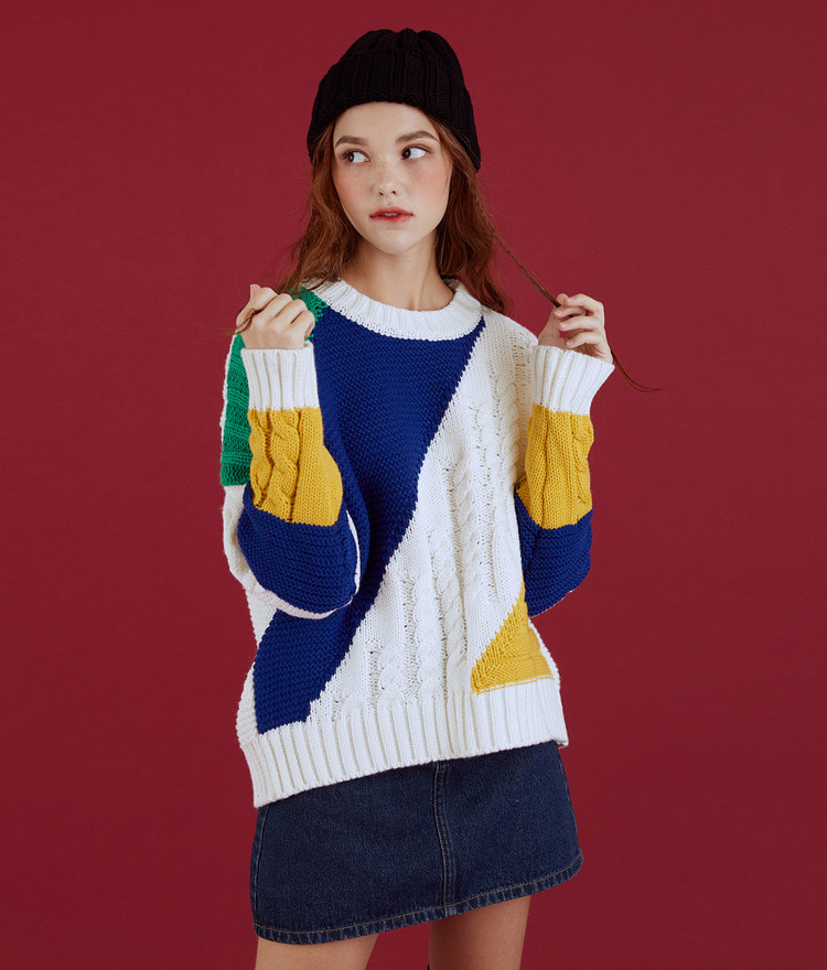 NEVERM!NDColor Block Cable Knit Top