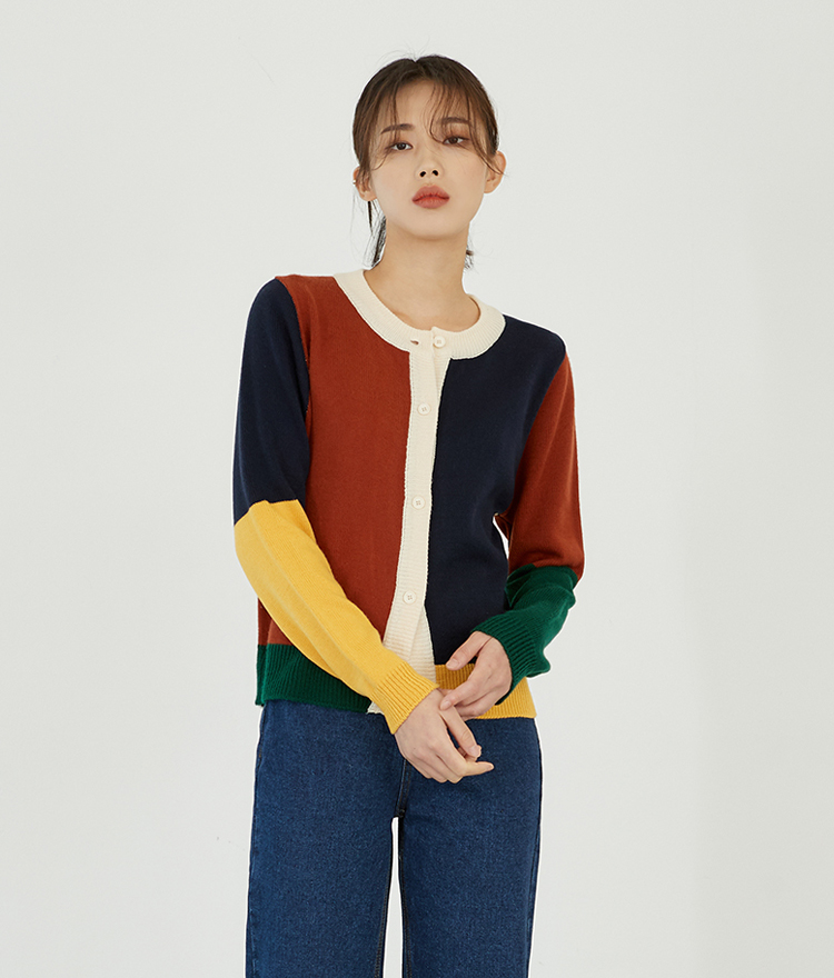 ESSAYColor Block Knit Cardigan