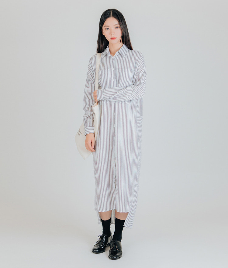 ESSAYAsymmetrical Hem Stripe Shirt Dress