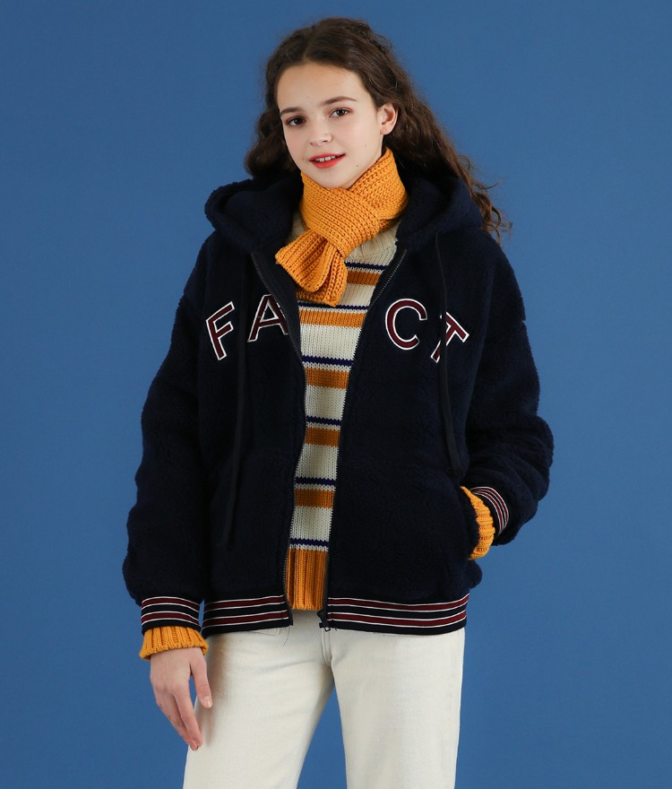NEVERM!NDSherpa Fleece Striped Trim Zip-Up Hoodie