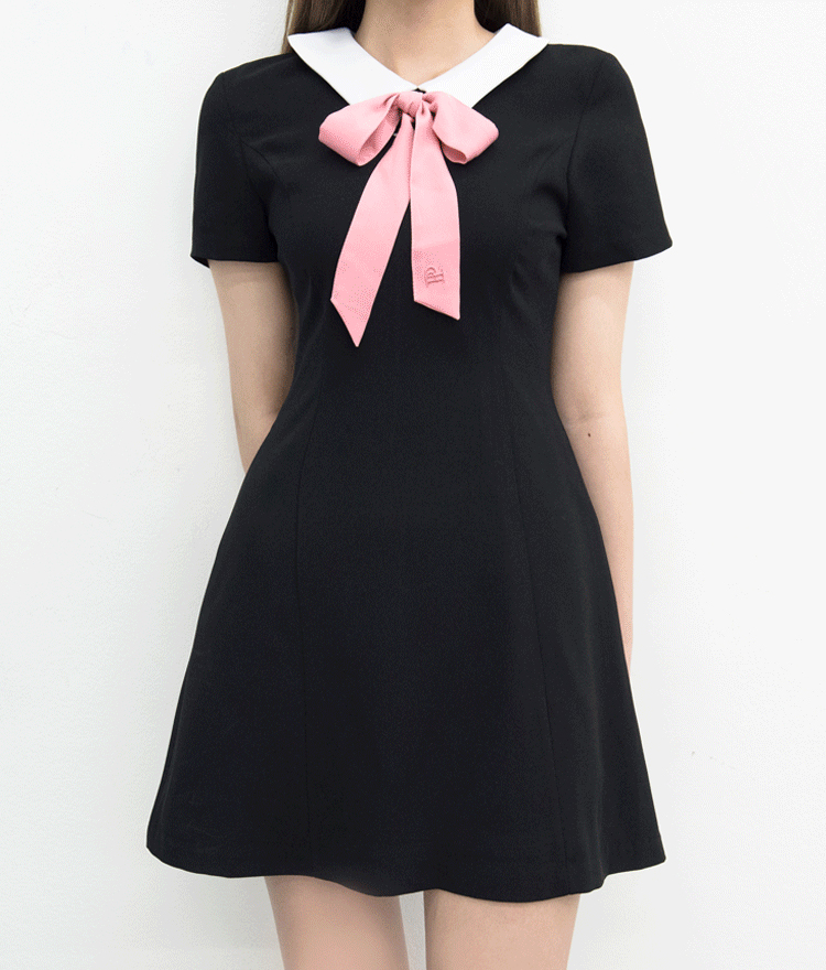 Contrast Collar Fit-And-Flare Dress