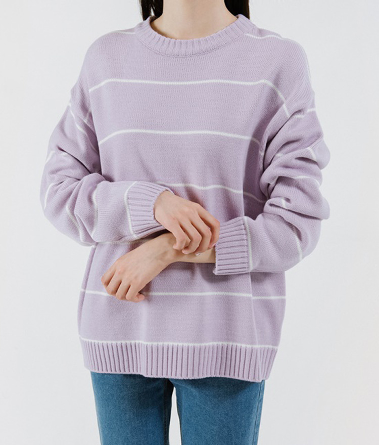 365BASICLoose Fit Stripe Knit Top(Unisex)