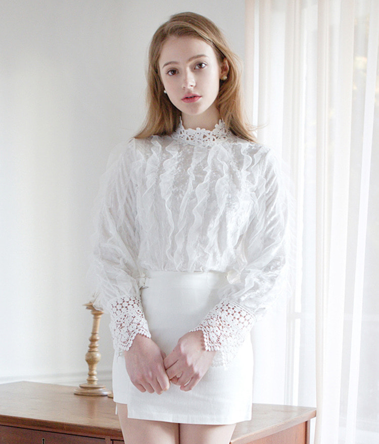 Back Button Lace Blouse