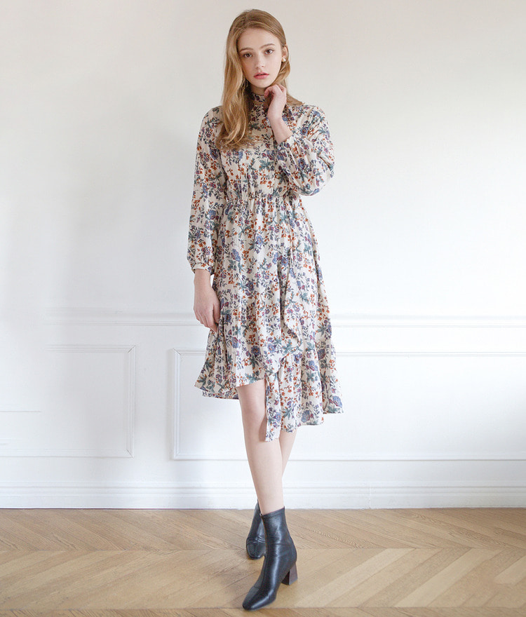 Asymmetrical Hem Floral Dress