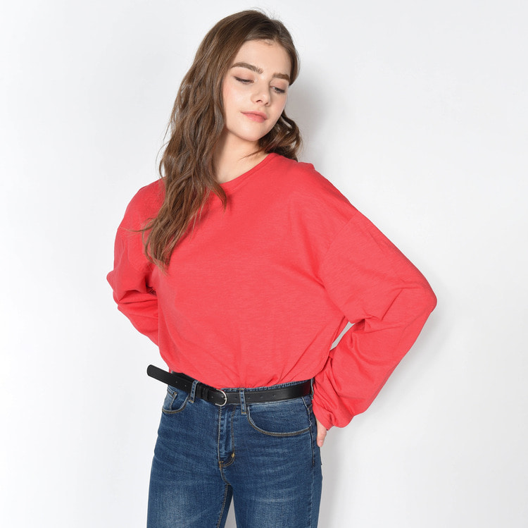 Solid Tone Slub Long Sleeve T-Shirt