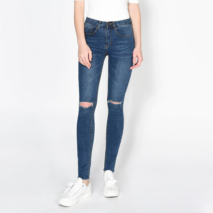 Ripped Knee High Waist Jeans