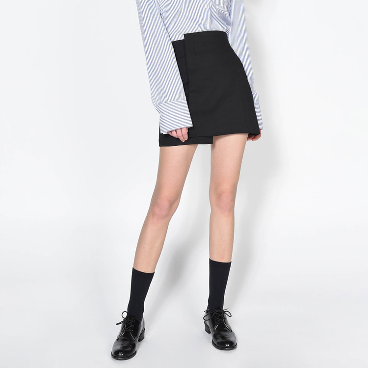 High Waist Asymmetrical Hem Skirt