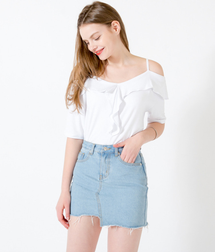 Off-Shoulder Short Sleeve T-Shirt