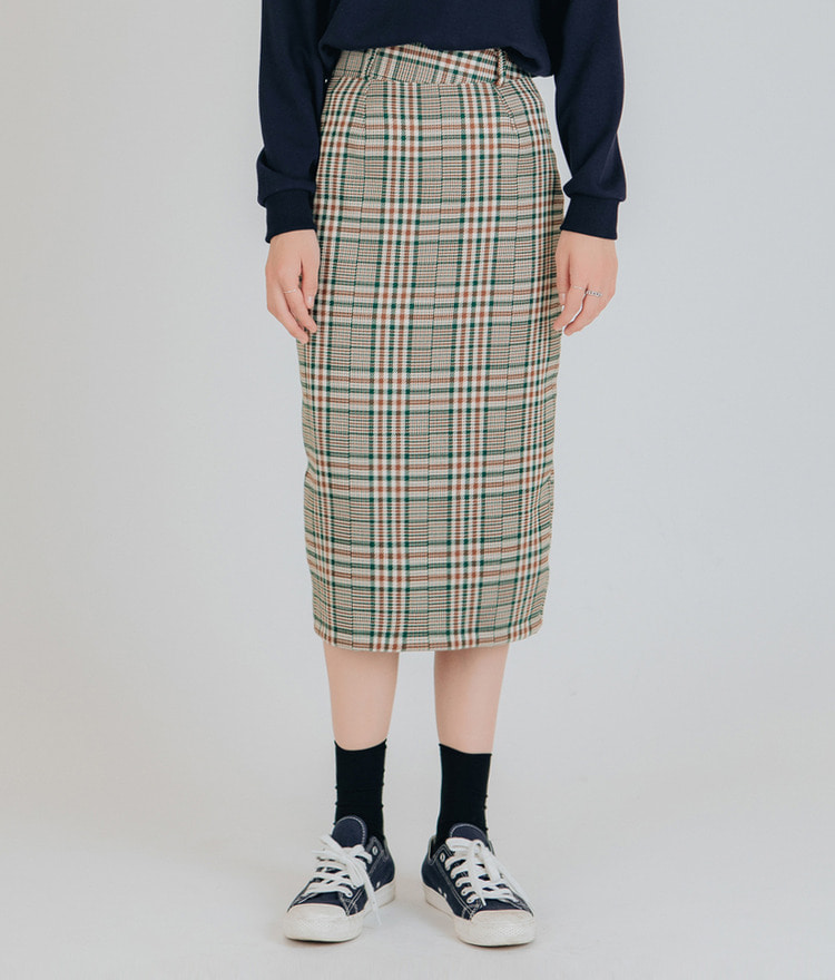 Line Checked Mid Skirt