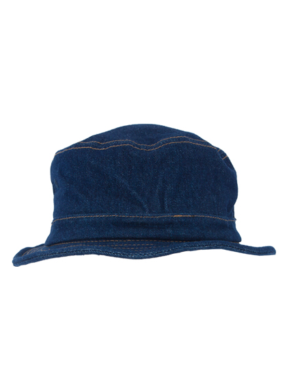Denim Bucket Hat With Embossed Plate Detail