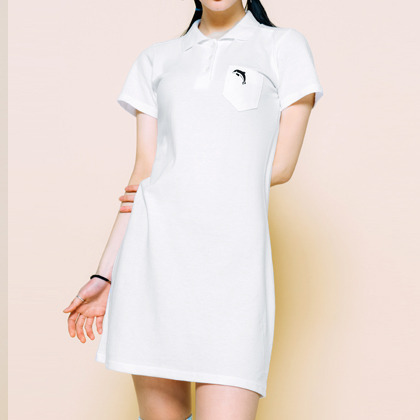 Embroidered Dolphin Detail Polo Dress