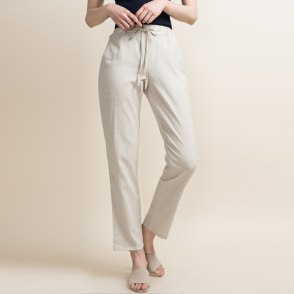 Linen Drawstring Waist Cropped Pants