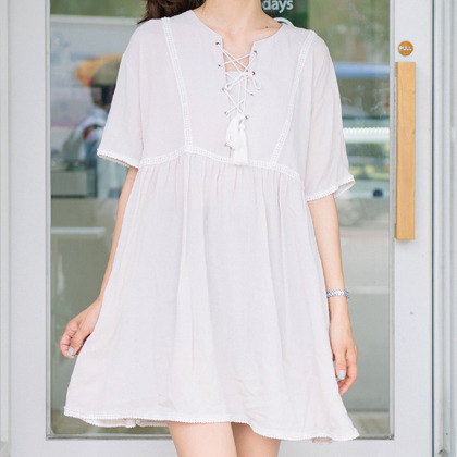 Tasseled Lace-Up Front Dress