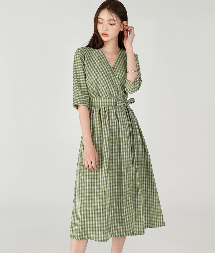 Checked Wrap Dress