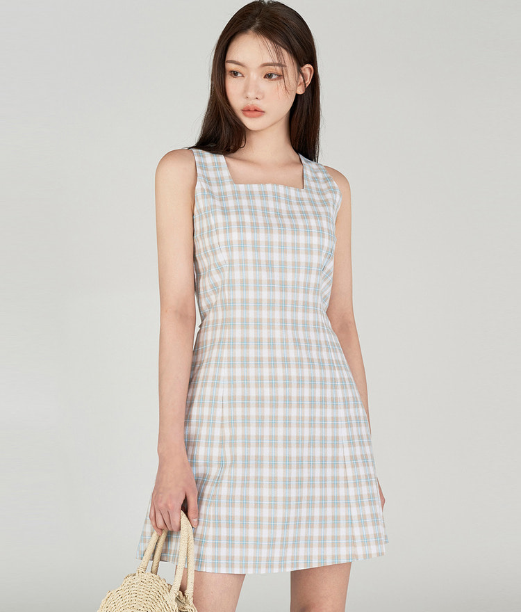Square-neck Checked Dress