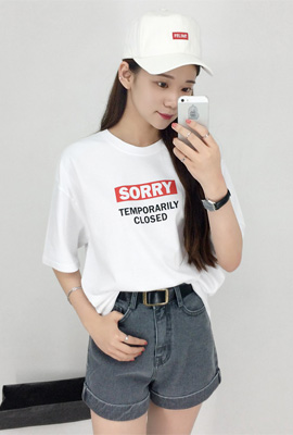 SORRYプリント半袖Tシャツ | 💛Daily about💛【韓国レディース通販】デイリーアバウト