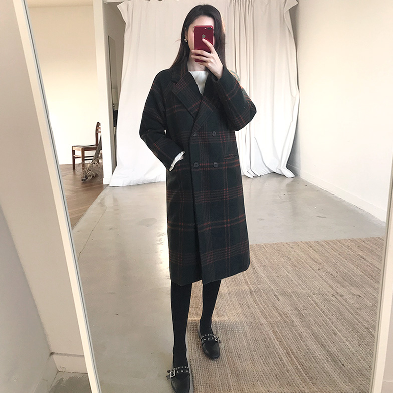 Withipun Double Breasted Loose Fit Check Coat