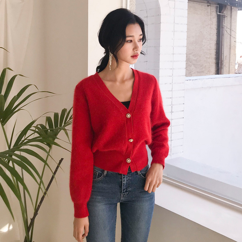 Withipun Jewel Accent Button V-Neck Cardigan
