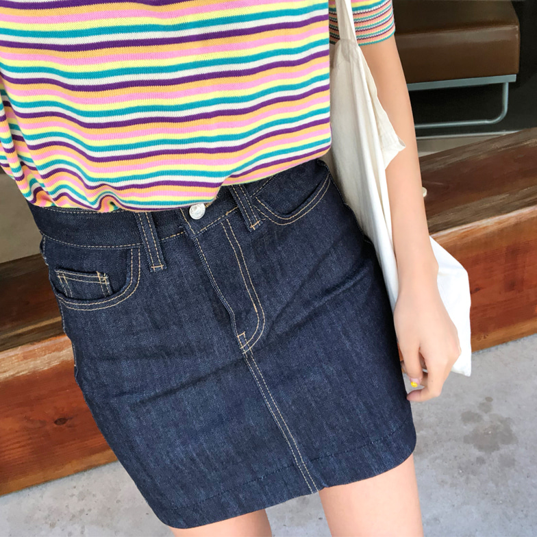 Withipun Straight Cut Mini Denim Skirt