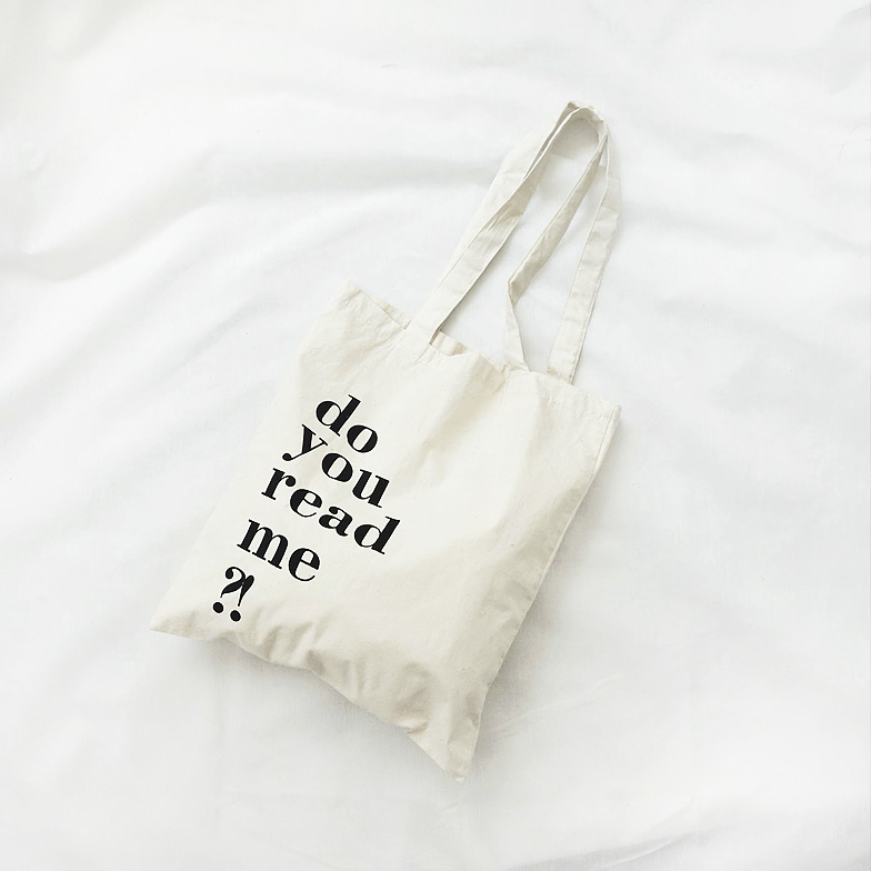 Withipun Simple Lettering Print Canvas Bag