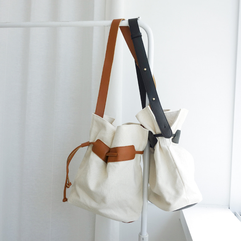 Withipun Adjustable Faux Leather Strap Canvas Bag