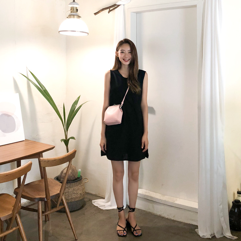 Withipun Round Neck Slit Hem Dress