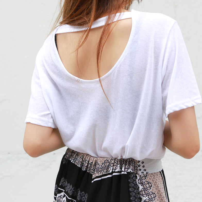Withipun Back Cutout Short Sleeve T-Shirt