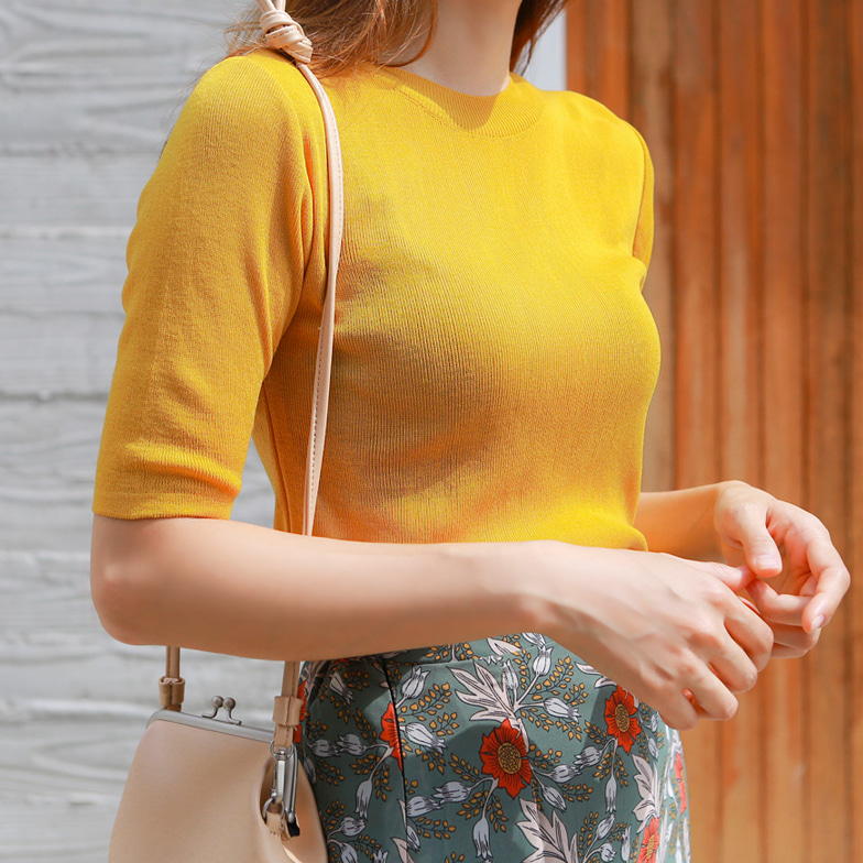 Withipun Round Neck Half Sleeve Knit Top