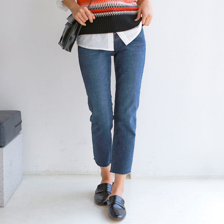 Withipun Raw Hem Straight Cut Jeans