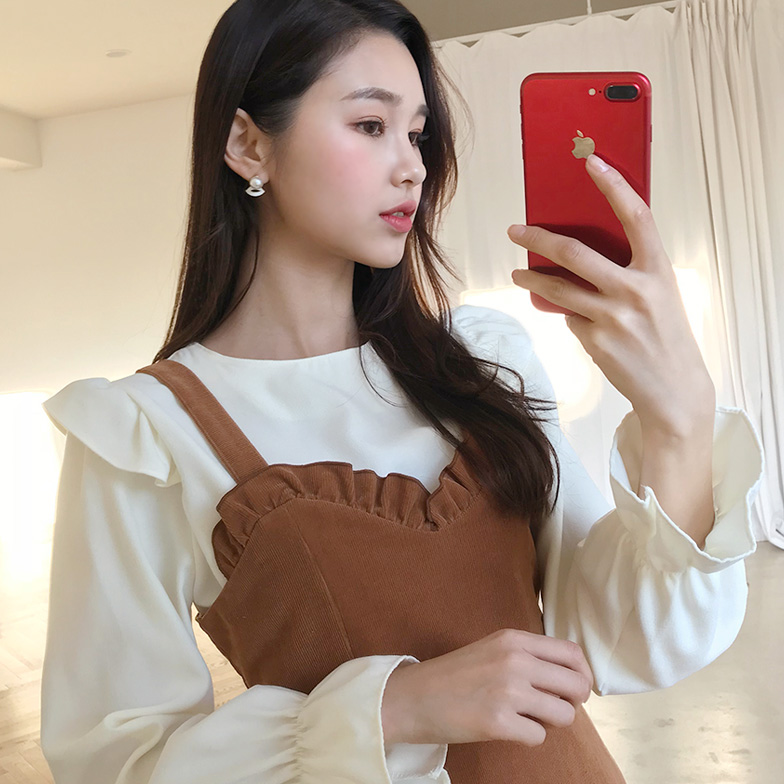 Withipun Round Neck Frill Shoulder Blouse