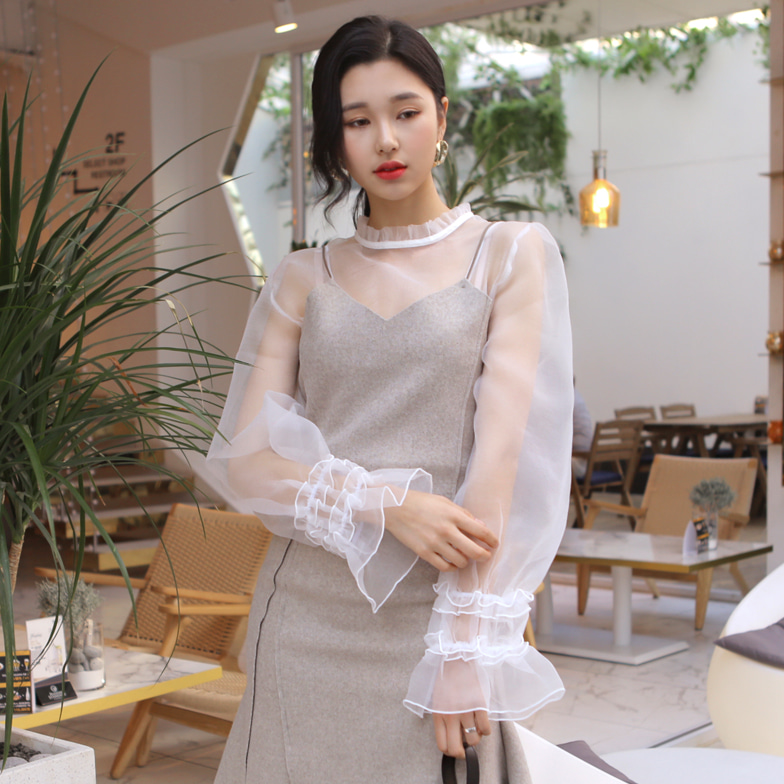 Withipun Lace Frilled Sleeve Blouse