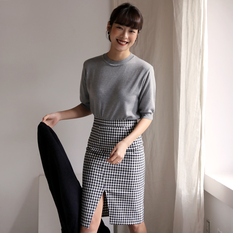 Withipun Front Slit Buffalo Check Skirt