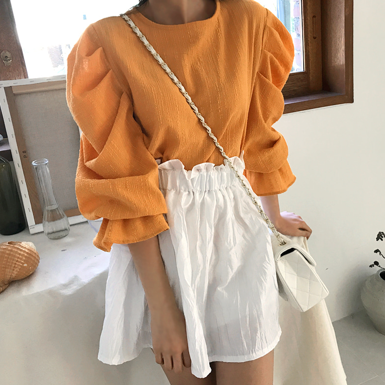 Withipun Back Ribbon Accent Round Neck Blouse