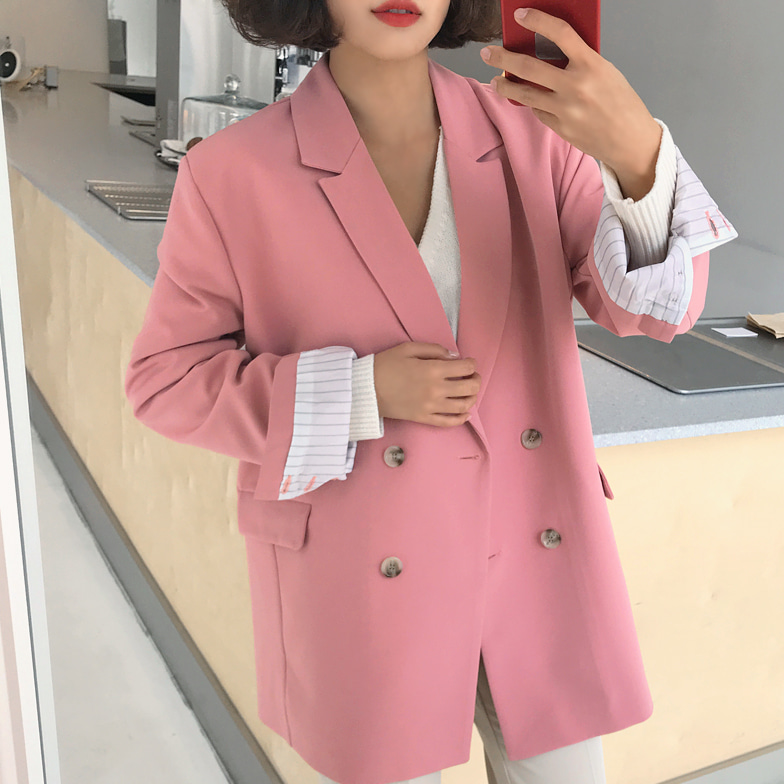Withipun Double Breasted Slit Sleeve Blazer