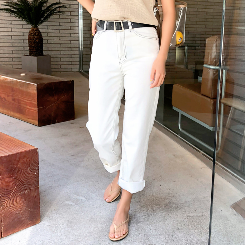 Withipun Contrast Stitch Straight Cut Pants