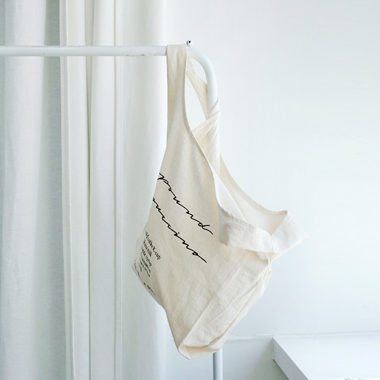 Withipun Lettering Print Canvas Tote Bag