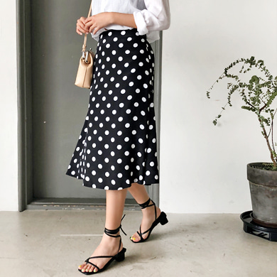 Withipun Semi Elastic Waistband Polka Dot Midi Skirt
