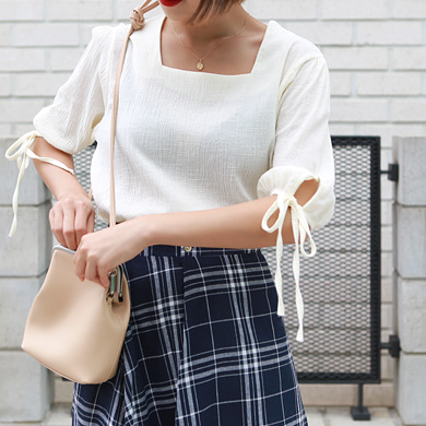 Withipun Square Neck Tie Sleeve Blouse